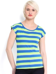 Roadster Women Blue & Lime Green Striped Top