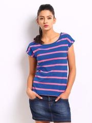 Roadster Women Blue & Pink Striped Top