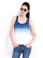 Roadster Women Blue & White Ombre Print Tank Top