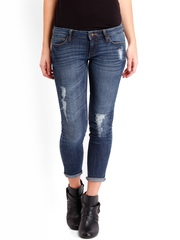 Roadster Women Blue Skinny Destruction Jeans