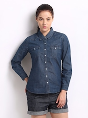 Roadster Women Blue Denim Casual Shirt