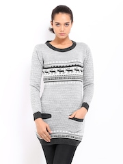 Roadster Grey & White Sweater Tunic