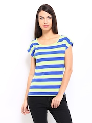 Roadster Women Green & Blue Striped Top