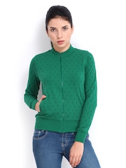Roadster Women Green Printed Sweatshirt