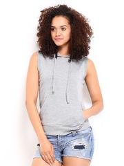 Roadster Women Grey Hooded Sweatshirt