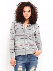 Roadster Women Grey Striped Hooded Sweatshirt