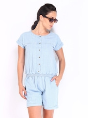 Roadster Women Light Blue Denim Playsuit