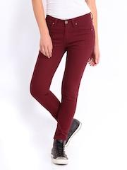 Roadster Women Maroon Skinny Fit Jeans