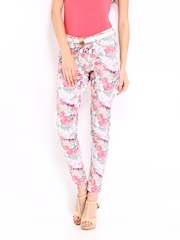 DressBerry Women Multi-Coloured Floral Print Ankle Length Trousers
