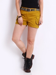 Roadster Women Mustard Yellow Cargo Shorts