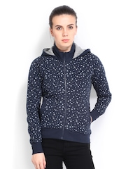 Roadster Women Navy Star Print Sweatshirt