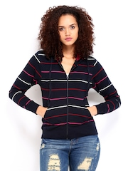 Roadster Women Navy Striped Hooded Sweatshirt