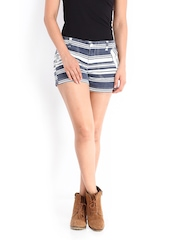 Roadster Women Off-White & Navy Striped Shorts