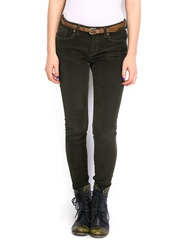 Roadster Women Olive Green Skinny Fit Corduroy Trousers