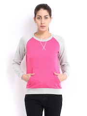 Roadster Women Pink & Grey Melange Sweatshirt