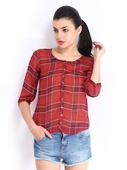 Roadster Women Red & Black Checked Slim Fit Casual Shirt