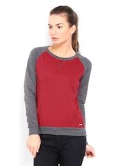 Roadster Women Red & Grey Sweatshirt