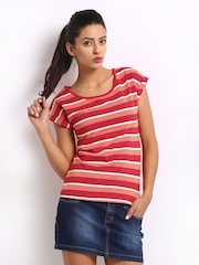 Roadster Women Red & Peach Coloured Striped Top