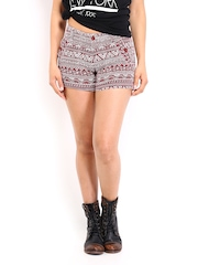 Roadster Women Maroon and Off-White Printed Shorts