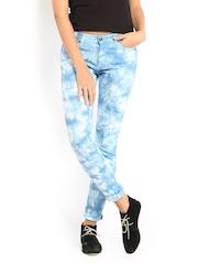Roadster Women White & Blue Tie and Dye Skinny Fit Jeans