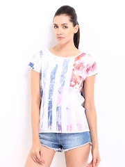 Roadster Women White & Navy Printed Top