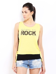Roadster Women Yellow & Black Printed Layered Top