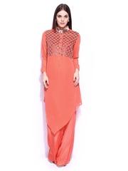RGRK by Rohit Gandhi + Rahul Khanna Women Coral Orange Asymmetric Hemline Salwar Suit