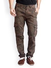Rookies Men Brown Camouflage Printed Slim Fit Jeans