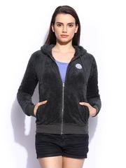 Roxy Women Grey Hooded Apple River Sweatshirt