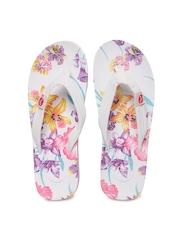 Roxy Women White Floral Printed Flip-Flops