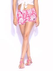 Roxy Women Pink & Grey Printed Shorts