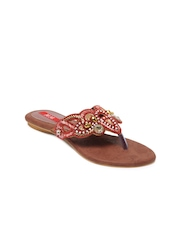 HM Women Red Studded Sandals