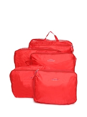 Unisex Red Set Of 5 Luggage Organiser Bags Ruby