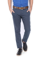 Ruggers Young Men Dark Grey Tapered Fit Chino Trousers