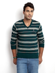 Ruggers Young Men Green & White Striped Sweater