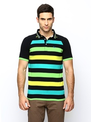 Ruggers Young Men Black Striped Polo T-shirt