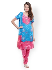 Ruhaans Blue & Pink Printed Unstitched Dress Material