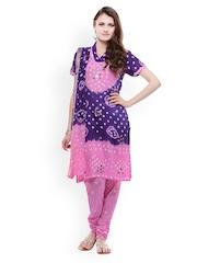 Purple & Lavender Jaipuri Bendhej Cotton Dress Material Ruhaans