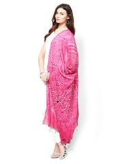 Ruhaans Pink Jaipuri Bandhej Dupatta