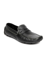 Ruosh Casual Men Black Leather Driving Shoes