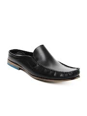 Ruosh Men Black Mule 2 Leather Sandals