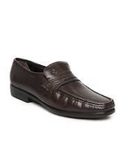 Ruosh Work Contemporary Men Brown Leather Slip-On Shoes