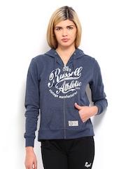 Russell Athletic Women Blue Printed Hooded Sweatshirt