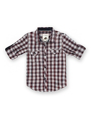 SCULLERS Explorer Boys Red & Navy Checked Shirt