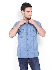 SCULLERS Men Blue Slim Fit Casual Shirt