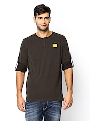 SCULLERS Men Brown Henley T-shirt