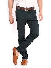 SCULLERS Men Charcoal Grey Slim Fit Chino Trousers