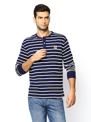 Men Navy & White Striped Henley T-shirt SCULLERS