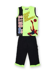 SDL by Sweet Dreams Boys Lime Green & Navy Printed Clothing Set