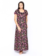 SDL by Sweet Dreams Women Black Printed Nightdress F-240708